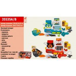 Кассовый аппарат 35535A|B (12шт|2) 2 цвета, калькулятор,сканер,микрофон,продукты,в кор. 43*18,5*19 с
