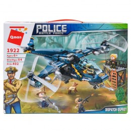 Конструктор Qman 1922 (12шт) полиция, вертолет, фи