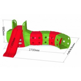 Горка с тоннелем, красно-зеленая 01470/3