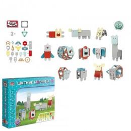 """98793 [2469] Конструктор магнитный 2469 (12/2) """"Play Smart"""", """"Животные"""", 60 деталей, в коробке [Коробка]"""