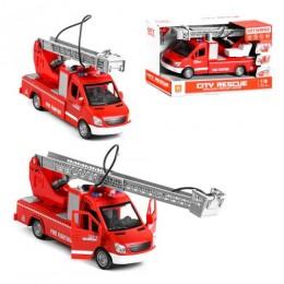 """106635 [WY596A] Спецтехника WY 596 A (24) """"Пожарная машина"""", инерция, помповая накачка воды, открываются двери, платформа и стрела с трещоткой, свет, звук, в коробке [Коробка]"""