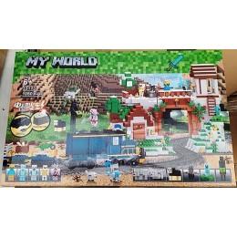 Конструктор Майнкрафт My World 33173 1080 дет., Железная дорога, свет