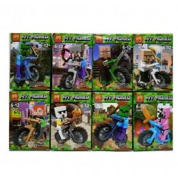 Набор 8 фигурок на мотоциклах My World Майнкрафт 33224 (Minecraft)