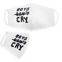 """Многоразовая 4-х слойная защитная маска """"Boys don't cry"""" размер 3, 7-14 лет, белая mask2NEW"""