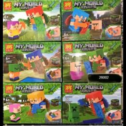 """Конструктор Lele Minecraft Майнкрафт 26002 6 в 1 """"Стиви и герои"""""""