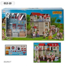 Домик для флоксовых животных, мебель, фигурки животных в комплекте Happy family 012-10