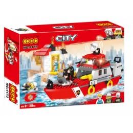 Конструктор ПОЖАРНЫЙ катер с отрядом спасателей. FireMan 5+ 318 деталей 4173