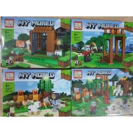 Набор из 4х конструкторов Майнкрафт My world Minecraft PRCK 63037