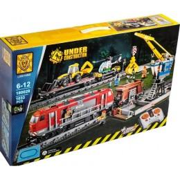 """Конструктор 180028 (8) """"Железная дорога со спецтехникой"""", 1033 детали, длина путей 147 см, на р/у, в коробке"""