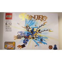 Конструктор QS08 70720L Ninja На светящемся синем драконе (аналог Lego Ninjago) 367 деталей